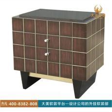 大美軟裝新古典簡約格子床頭柜J17GT010