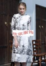 廣州印花民族風真絲折扣女裝凱撒貝雷批發