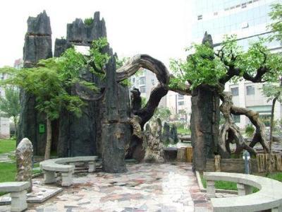 北京水泥造景施工制作厂家  假山假树溶洞造