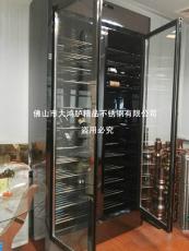 豪华镜面黑钛金不锈钢红酒柜葡萄酒恒温酒柜