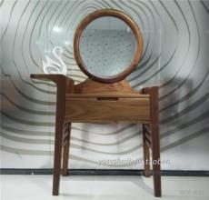 上海臥室家具黑胡桃木梳妝臺圓鏡 現代簡約