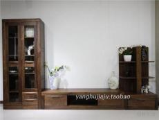 上??蛷d電視背景墻地柜裝飾柜黑胡桃木家具