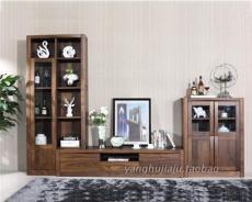 高档客厅电视柜组合黑胡桃木家具现代简约