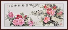 掛中式客廳里的字畫 百花爭寵 紫燕穿林