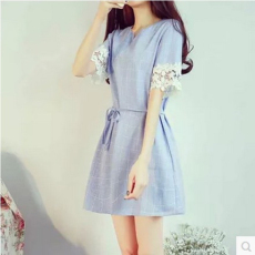 2016夏季新款韩版小清新蕾丝格纹棉麻短袖